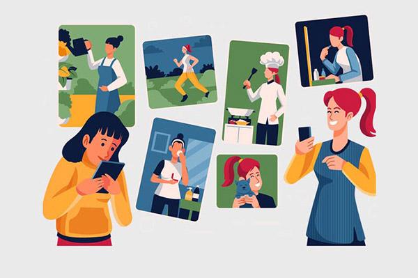 女性生活矢量插画