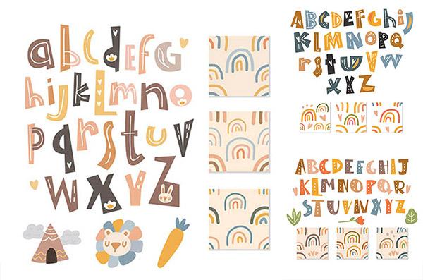 手绘图案装饰英文字母