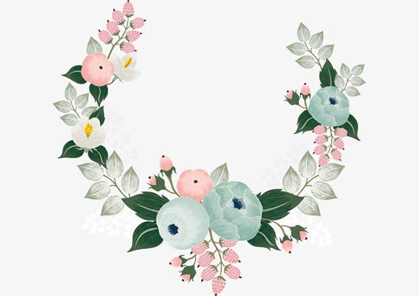 手绘花朵边框花环