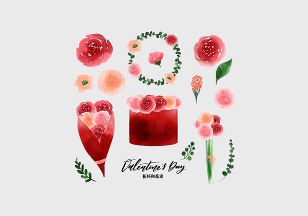 情人节花环和花束
