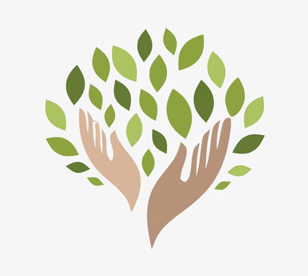 手和树叶标志