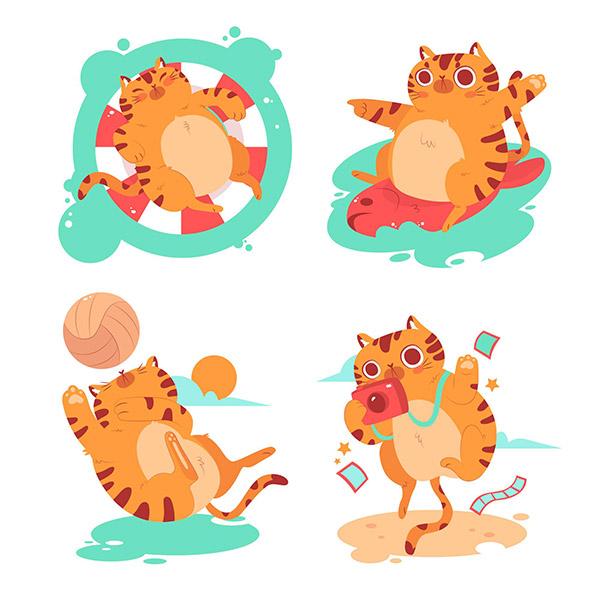 夏季猫咪卡通贴纸
