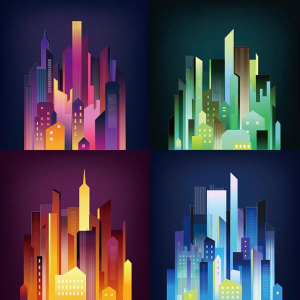 几何抽象夜晚城市插图