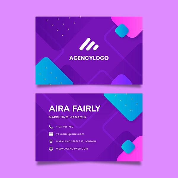 紫色名片模板