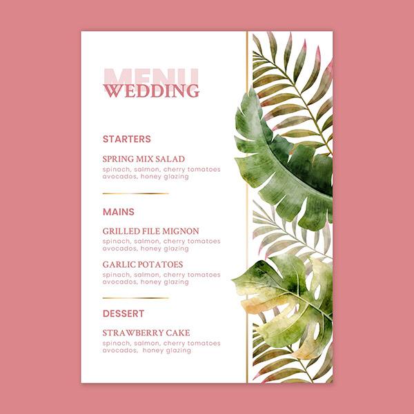 花卉婚礼菜单模板
