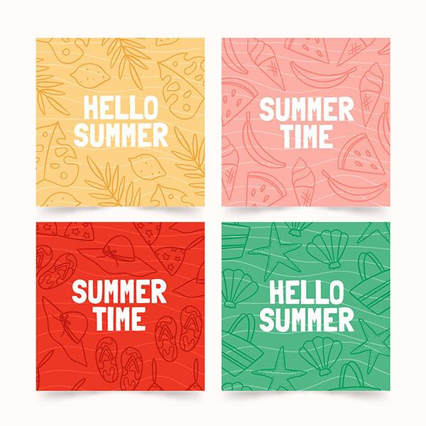 夏日小清新手绘系列卡片