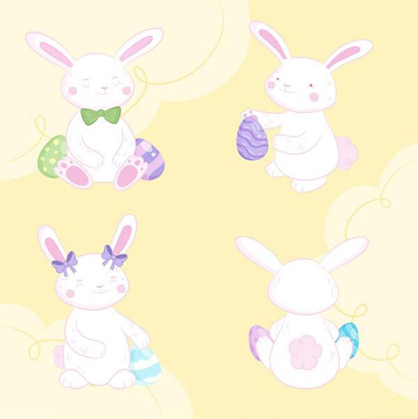 手绘卡通复活节兔子