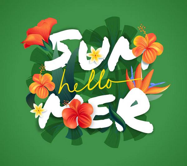 你好夏天花朵元素