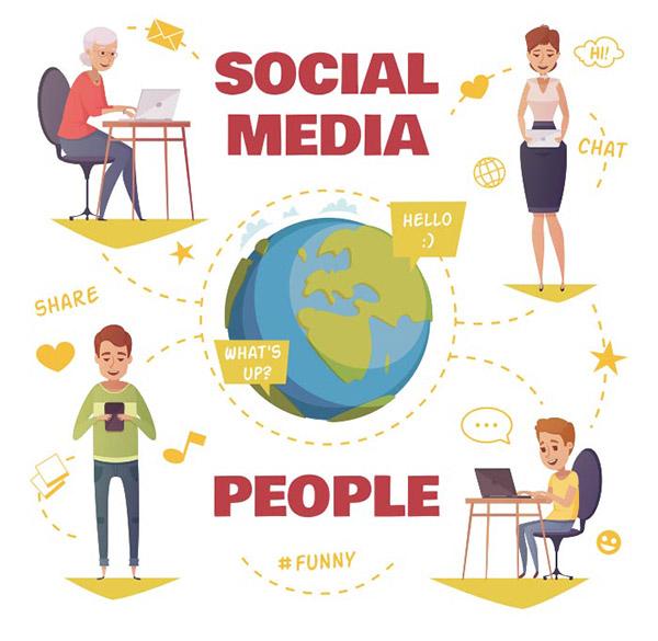 社交媒体交流矢量