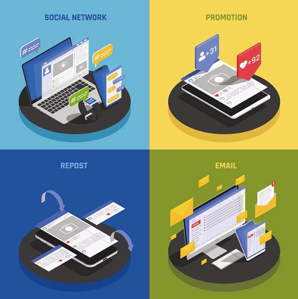 等距社交媒体技术概念