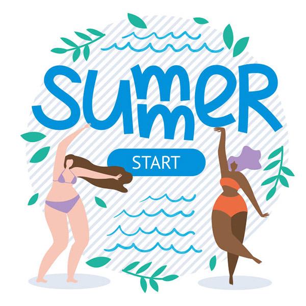 夏天开始矢量插画
