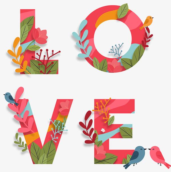 love花朵字体