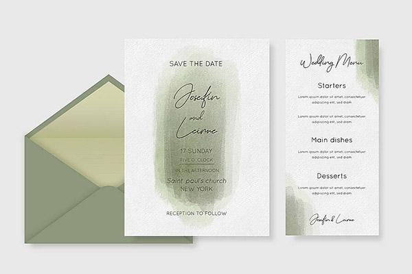 婚礼邀请卡设计矢量