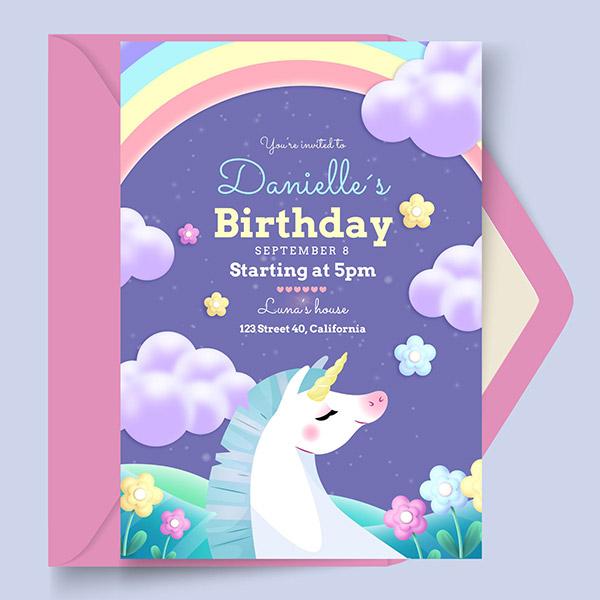 儿童卡通生日贺卡