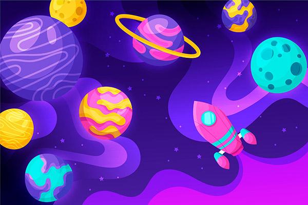 卡通银河背景插图