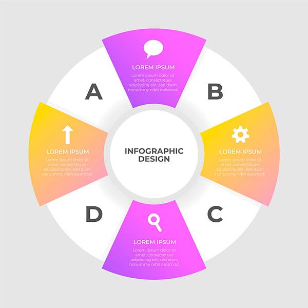 多彩圆形图信息图
