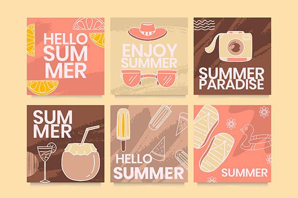 你好夏天复古系列海报