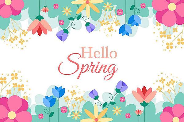 春天手绘花朵花边