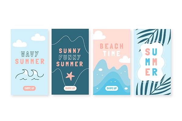 手绘夏季ins系列卡片