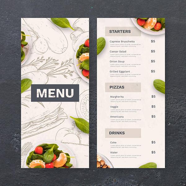 手绘餐厅菜单矢量