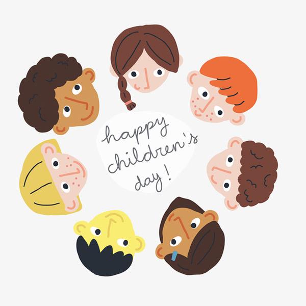 扁平化儿童节插画