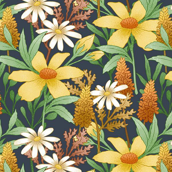 手绘复古花卉图案