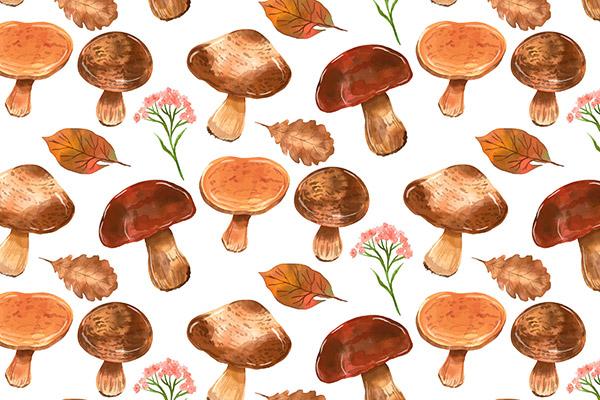 手工彩绘水彩蘑菇图案