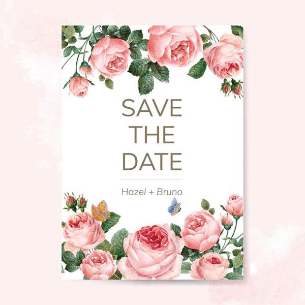 玫瑰装饰婚礼请柬
