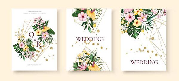 热带花卉婚礼请柬