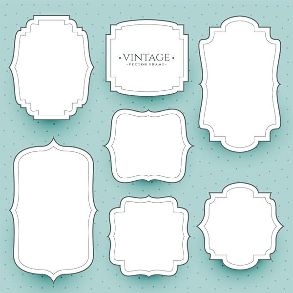 白色复古框架贴纸