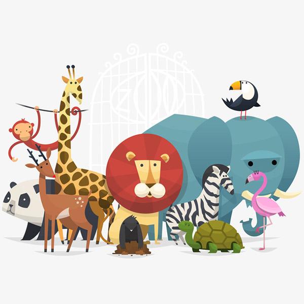 一群动物矢量插画