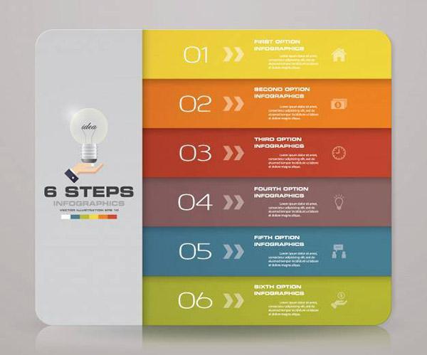 6步信息图表元素