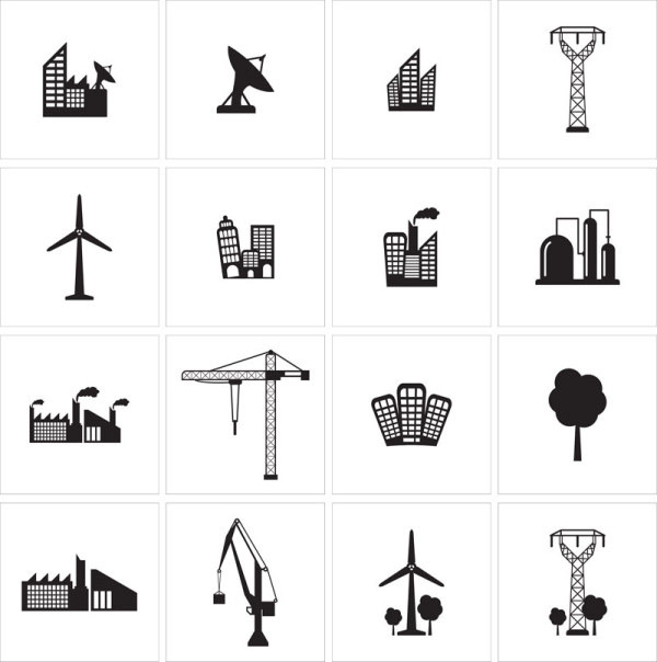 黑白建筑图标集