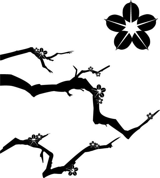 梅花树枝剪影_矢量花草树木