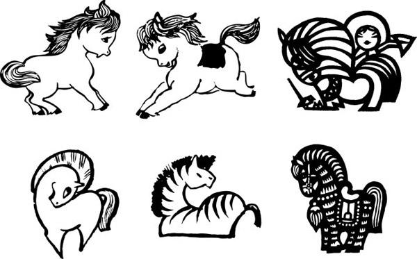 其它所需点数: 0 点 关键词: 马下载,马年素材,黑白马,可爱马,马