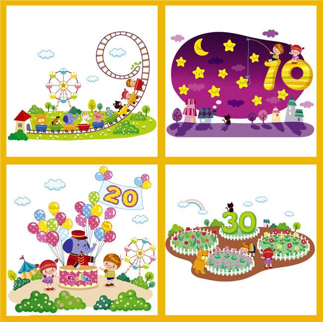 学数学,情景教育,教学,广告设计,系列卡通画,全矢量图,中学,小学,幼儿