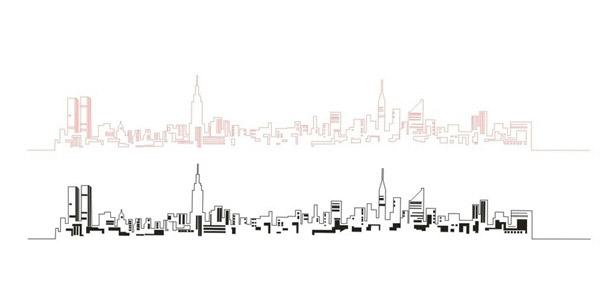 矢量建筑景观所需点数: 0 点 关键词: 城市一线贯穿简笔背景矢量素材