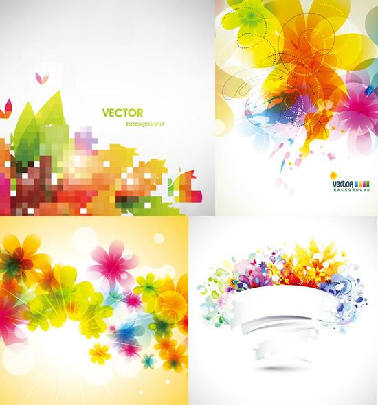 梦幻炫彩花朵背景矢量素材,梦幻花朵,炫彩背景,线条,绚丽花瓣,丝带,花纹,光晕,缤纷背景图片素材,免费背景EPS矢量素材下载