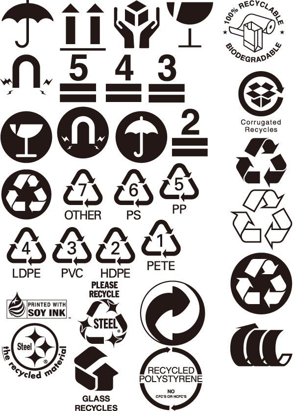 pp,pvc,防潮,易碎,不可回收,向上,环保标志,小图标,标识图标,矢量素材