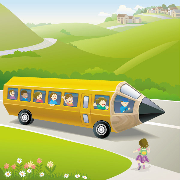 铅笔校车插画