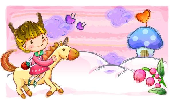 素材分类: 卡通矢量插画所需点数: 0 点 关键词: 快乐童年女孩骑马矢