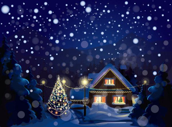 圣诞雪中小屋