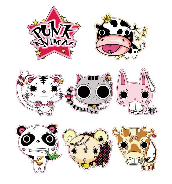 多款可爱小动物素材免费下载,cdr格式,彩色个性,猫,奶牛,羊,兔子,熊猫