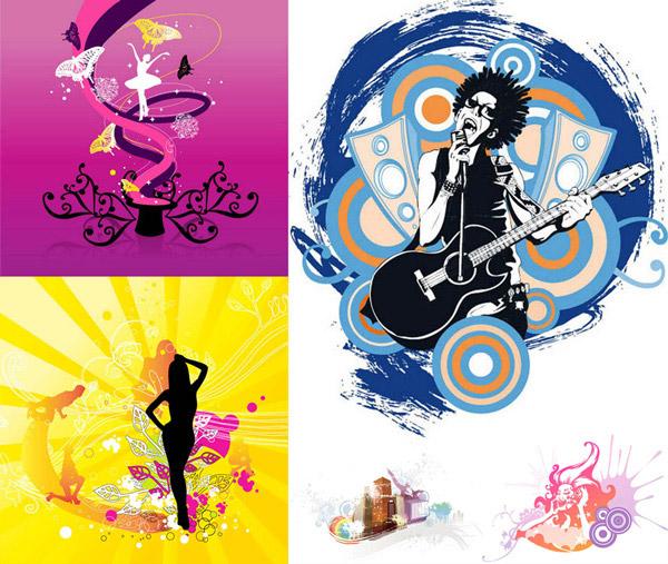 音乐舞蹈人物剪影创意设计矢量素材,矢量素材,矢量图,TUA,创意设计,潮流,时尚,设计元素,紫色,舞蹈,芭蕾舞,蝴蝶,曲线,线条,麦克风,话筒,吉他,音箱,墨迹,墨痕,放射线,背景,剪影,人物,喷溅,圆圈,圆环,AI