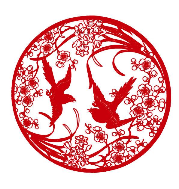 梅花剪纸图案_素材中国sccnn.com