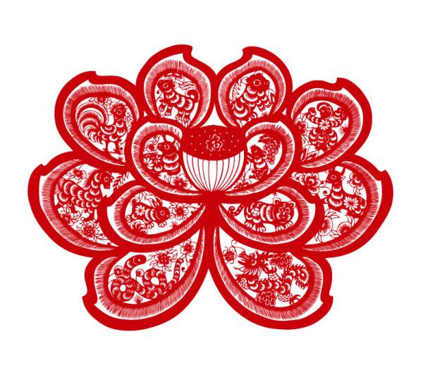 十二生肖荷花剪纸_素材中国sccnn.com