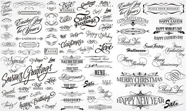 装饰花纹花边艺术字矢量字体矢量素材,艺术字,美术字,美工字,手写体