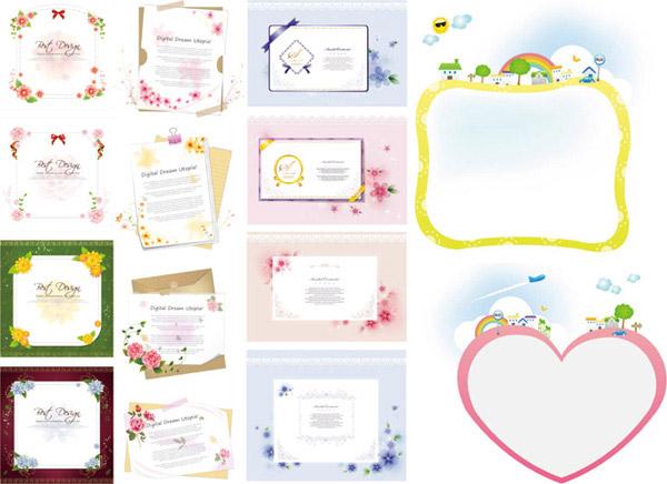 圆点,花卉,蝴蝶结,星光,纸张,信纸,信封,夹子,植物,红玫瑰,边框,花边