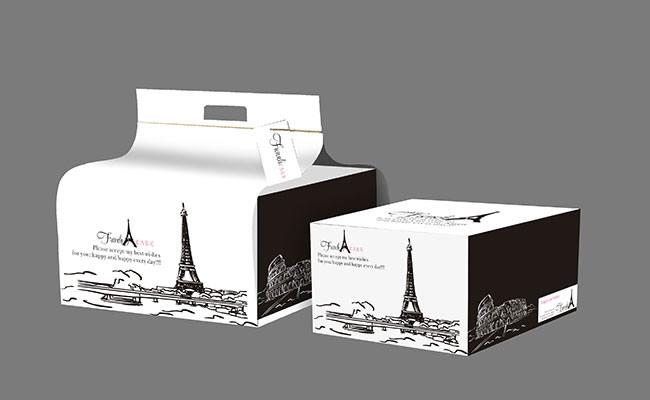 古典线条建筑插画蛋糕包装盒设计psd