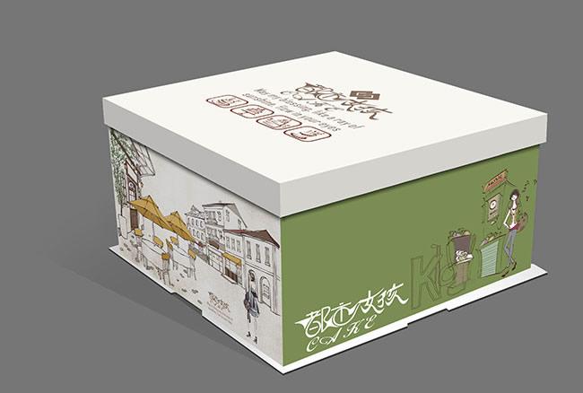 城市手绘图片,蛋糕盒插画设计